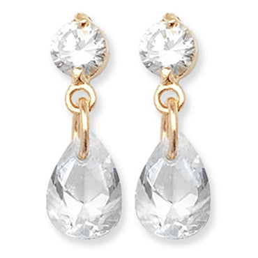 9CT GOLD PEAR CUBIC ZIRCONIA DROP EARRINGS
