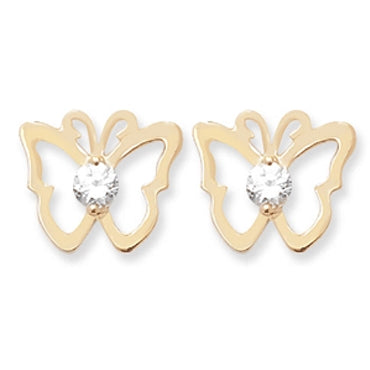 9CT GOLD CUBIC ZIRCONIA BUTTERFLY STUD EARRINGS