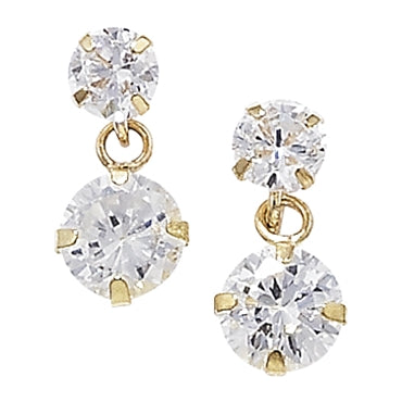 9CT GOLD ROUND CUBIC ZIRCONIA DROP EARRING