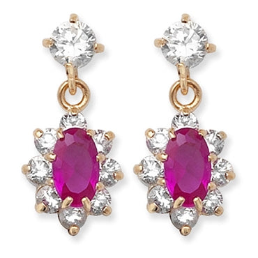 9CT GOLD RUBY & CUBIC ZIRCONIA DROP EARRINGS