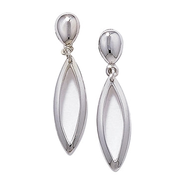 9CT WHITE GOLD OVAL DROP EARRINGS