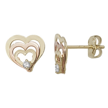 9CT 2 COLOUR GOLD CUBIC ZIRCONIA TREBLE HEART STUD EARRINGS