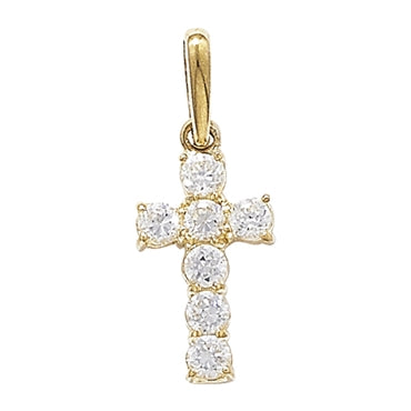 9CT GOLD SMALL CUBIC ZIRCONIA CROSS PENDANT