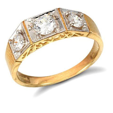 9CT GOLD CUBIC ZIRCONIA TRILOGY RING