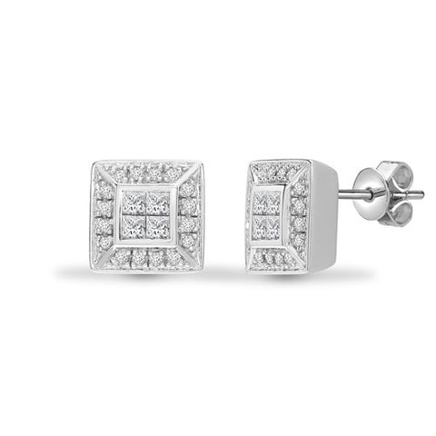 18CT WHITE GOLD PRINCESS AND BRILLIANT CUT DIAMOND STUD EARRINGS