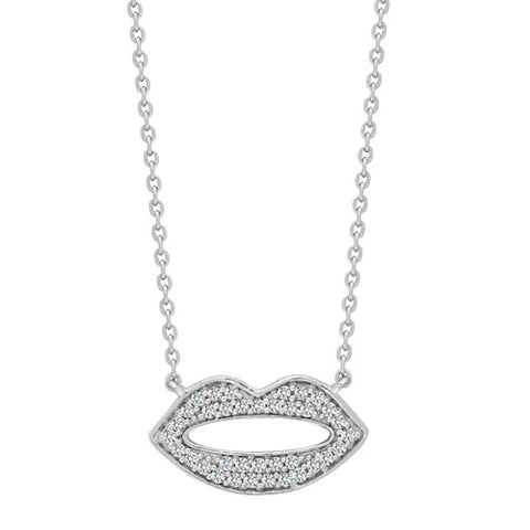 9CT WHITE GOLD .15CT DIAMOND LIPS NECKLACE