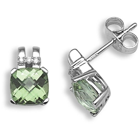 18CT WHITE GOLD PRASIOLITE AND DIAMOND STUD EARRINGS