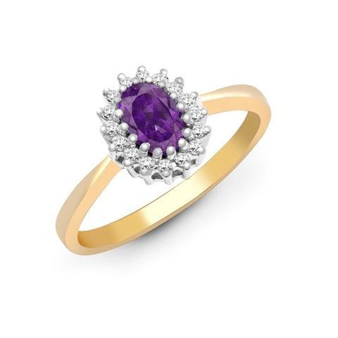 9CT GOLD OVAL AMETHYST & DIAMOND RING