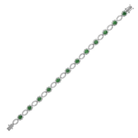 18CT WHITE GOLD EMERALD & DIAMOND BRACELET