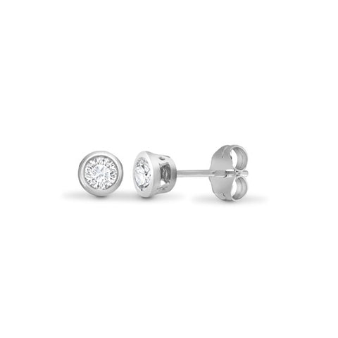 18CT WHITE GOLD BRILLIANT CUT RUBOVER SET DIAMOND STUDS