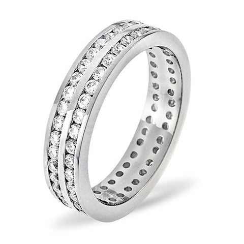 BESPOKE 18CT WHITE GOLD CHANNEL SET DIAMOND TWO ROW FULL ETERNITY BAND