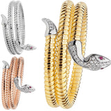 RHODIUM PLATED SILVER & GOLD VERMEIL CUBIC ZIRCONIA SNAKE BANGLE