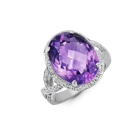 9CT WHITE GOLD 10.2CT AMETHYST & DIAMOND COCKTAIL RING