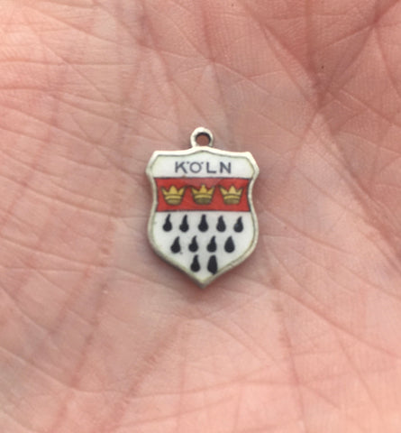 VINTAGE 800 SILVER KÖLN TRAVEL SHIELD CHARM