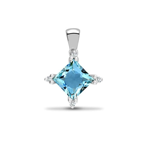 18CT WHITE GOLD PRINCESS CUT BLUE TOPAZ & DIAMOND PENDANT