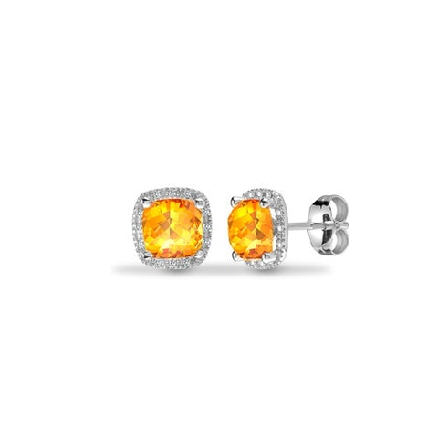 9CT WHITE GOLD 2CT CUSHION CUT CITRINE & DIAMOND STUD EARRINGS