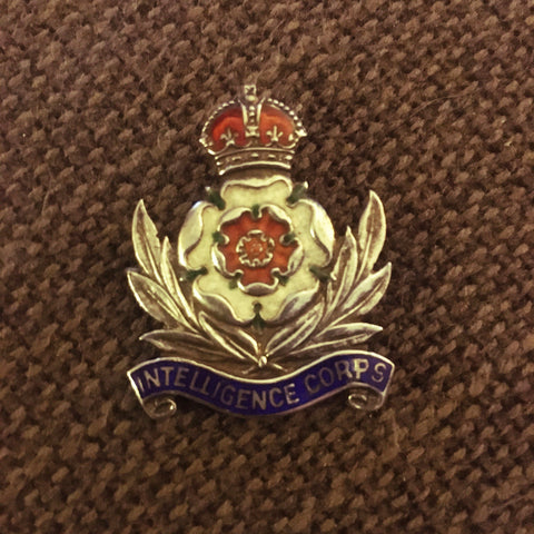VINTAGE SILVER ROYAL INTELLIGENCE CORPS CAP BADGE
