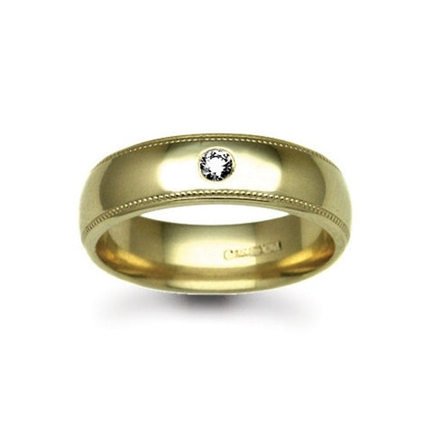 9CT GOLD RUBOVER SET DIAMOND MILLEGRAIN WEDDING BAND