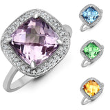 9CT WHITE GOLD 3.3CT CUSHION CUT AMETHYST & DIAMOND RING