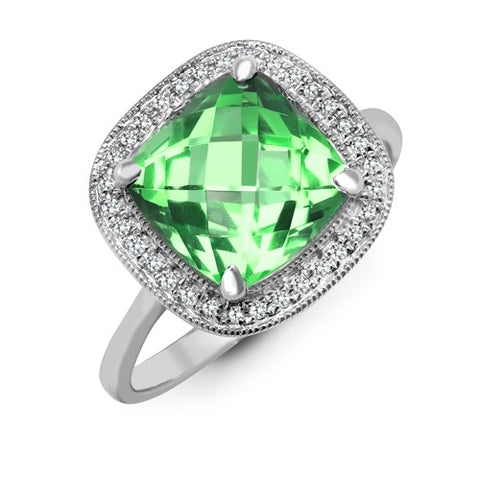 9CT WHITE GOLD 3.4CT CUSHION CUT PRASIOLITE & DIAMOND RING