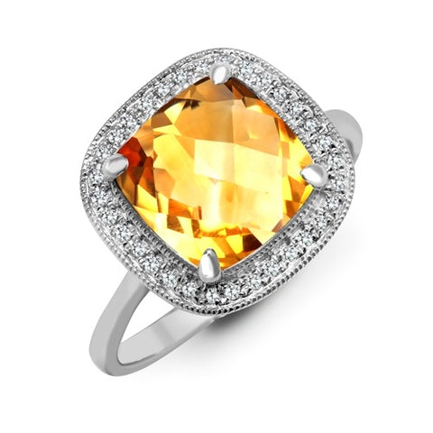 9CT WHITE GOLD 3.3CT CUSHION CUT CITRINE & DIAMOND RING