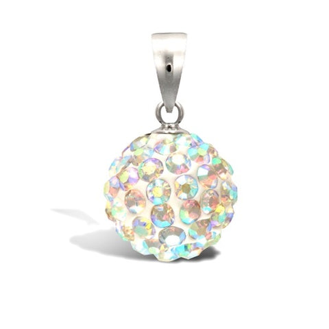 SILVER CRYSTAL DISCO BALL PENDANT