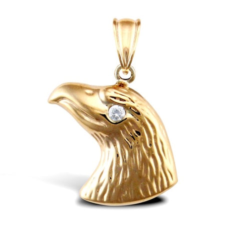 9CT GOLD CUBIC ZIRCONIA EAGLE'S HEAD PENDANT
