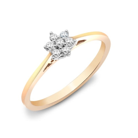 9CT GOLD DAINTY DIAMOND CLUSTER RING