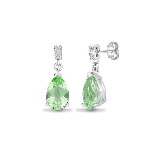 18CT WHITE GOLD PEAR CUT PRASIOLITE & DIAMOND DROP EARRINGS