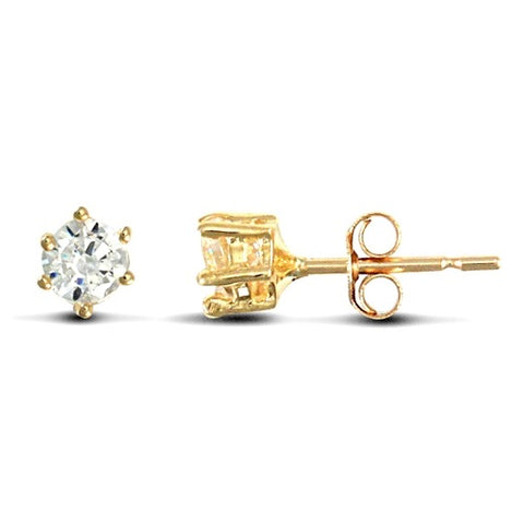 9CT YELLOW GOLD HEAVYWEIGHT CLAW SET CUBIC ZIRCONIA STUDS