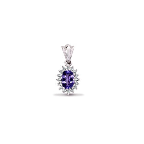 9CT WHITE GOLD OVAL TANZANITE & DIAMOND PENDANT