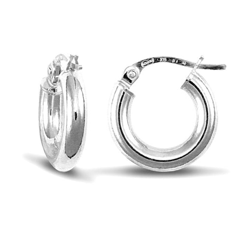 9CT WHITE GOLD POLISHED HOOP EARRINGS