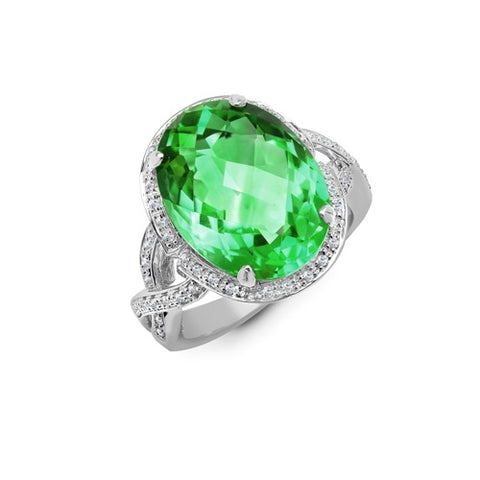 9CT WHITE GOLD 10.2CT PRASIOLITE & DIAMOND COCKTAIL RING