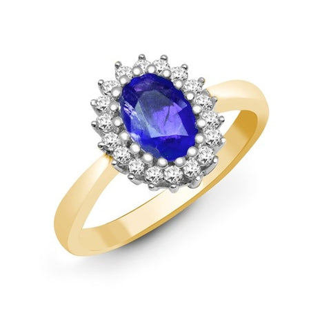 9CT GOLD OVAL TANZANITE & DIAMOND RING