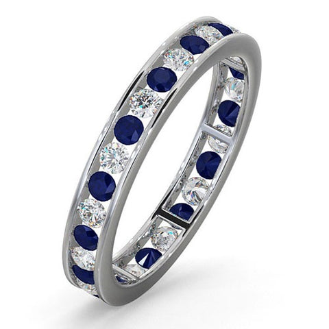 18CT WHITE GOLD CHANNEL SET SAPPHIRE & DIAMOND FULL ETERNITY BAND