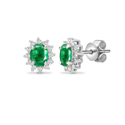 18CT WHITE GOLD OVAL EMERALD & DIAMOND STUD EARRINGS