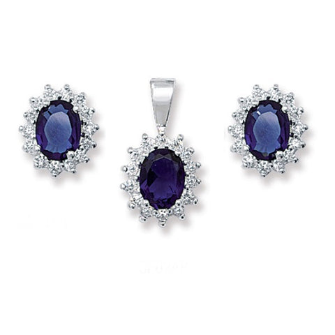 SILVER SYNTHETIC SAPPHIRE & CUBIC ZIRCONIA CLUSTER EARRING & PENDANT SET