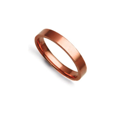 9CT ROSE GOLD FLAT COURT MIRROR FINISH WEDDING BAND