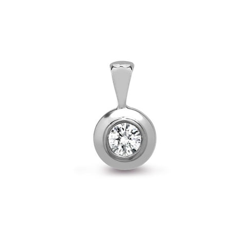 18CT WHITE GOLD RUBOVER SET DIAMOND PENDANT
