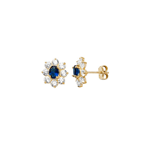 9CT GOLD SAPPHIRE & CUBIC ZIRCONIA CLUSTER STUDS