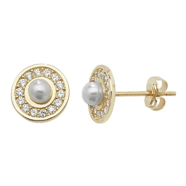 9CT GOLD FRESHWATER PEARL & CUBIC ZIRCONIA STUD EARRINGS