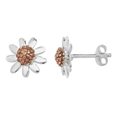 SILVER & ROSE GOLD VERMEIL DAISY STUD EARRINGS