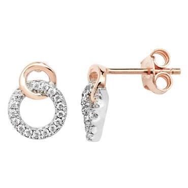 SILVER & ROSE GOLD VERMEIL CUBIC ZIRCONIA SET OPEN DOUBLE RING STUD EARRINGS