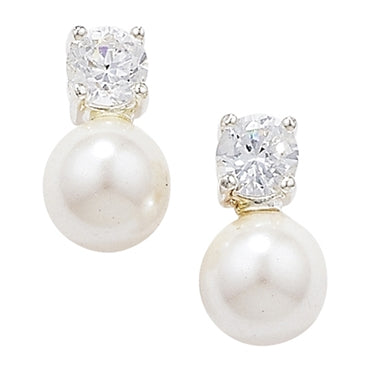 SILVER SYNTHETIC PEARL & CUBIC ZIRCONIA STUDS