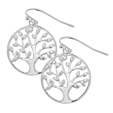 SILVER CUBIC ZIRCONIA SET 'TREE OF LIFE' DROPS