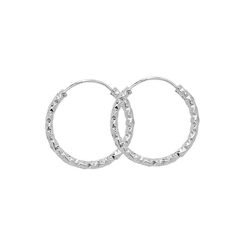 SILVER DIAMOND CUT HOOP EARRINGS
