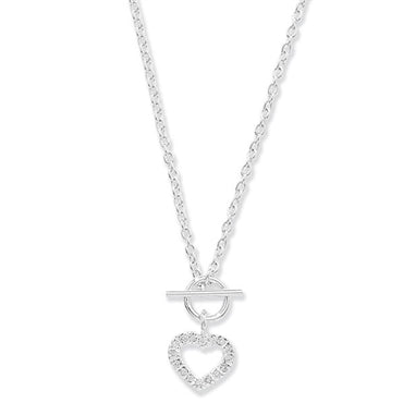 SILVER CUBIC ZIRCONIA SET HEART T-BAR NECKLACE