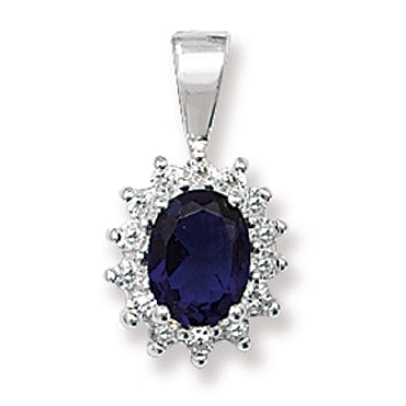 SILVER SYNTHETIC SAPPHIRE & CUBIC ZIRCONIA CLUSTER STUD PENDANT
