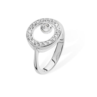 SILVER CUBIC ZIRCONIA SET CIRCLE RING
