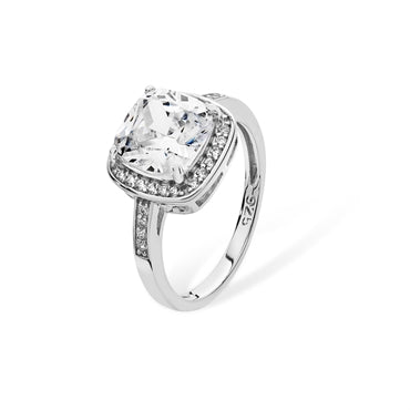 RHODIUM PLATED SILVER CUBIC ZIRCONIA HALO RING